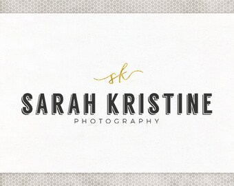 Premade Logo Design | Modern Design | Photography Branding | Premade Blog Header | Black and Gold | Monogram Logo