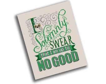 Solemnly Swear Cross Stitch Pattern - I Solemnly Swear I am up to No Good - Harry  Potter Digital PDF Pattern