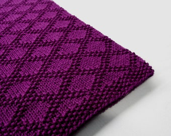 Purple Hand Knit Baby Blanket - Diamond Design