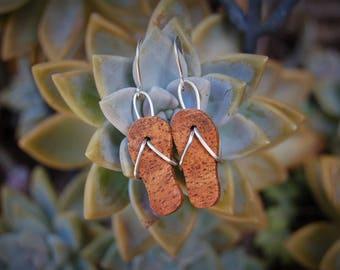 Free shipping,wooden earrings,mango wood,sterling silver, wood jewelry, wood earrings, slippers, flip flops, sandle earrings, beach earrings