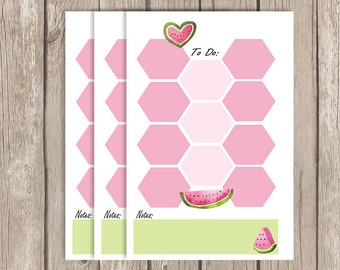 Watermelon, Personal planner Inserts, to do, planner inserts, notes, kikki k, filofax, hexagon, floral