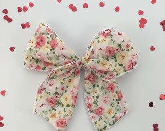 Little girl bow, flower bow, hair clip, sailor bow, Valentines day hair bow, floral bow, flower hair bow, little girl bow, big hair bow, bow