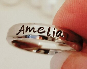 Name Ring, Personalized Stacking ring, Stacking Mother's Ring, Mom ring, Custom Name Ring, Hand Stamped Ring, Personalized wedding band,gps