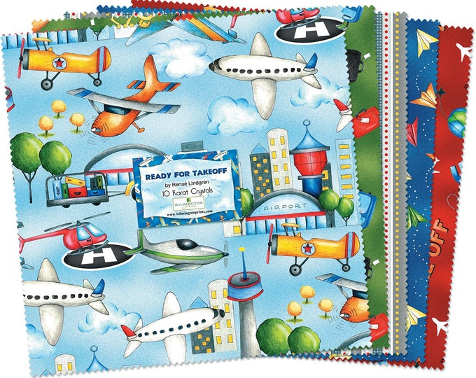 READY FOR TAKEOFF, Children's Cotton 10 inch squares fabric by Wilmington Prints