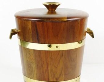 Walnut and Brass Ice Bucket - Vermillion Walnut - Vintage Ice Bucket - Vintage Bar