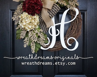 "18""-32"" Burgundy & Cream Hydrangea Wreath. Year Round Wreath. Spring Wreath. Summer Wreath. Door Wreath. Grapevine Wreath."