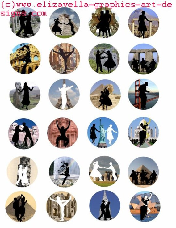 "dancing people silhouette wonders of the world  art clip art digital download collage sheet 1.5"" inch circle graphics images printables"