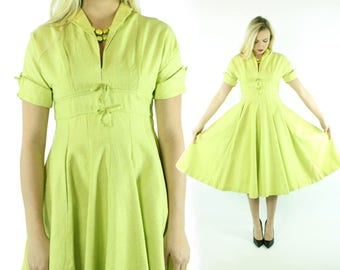 40s 50's Party Dress Chartreuse Green Brocade Short Sleeves Full Skirt Womens Vintage 1940s 1950s  Medium M Pinup  Rockabilly