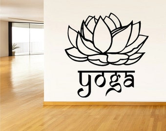 rvz1450 Wall Decal Vinyl Sticker Decals Yoga Flower Lotos Lettering Quote Sign