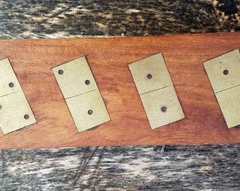 Wooden Domino Box Brass Inlaid Hand Made of Sheesham Wood 27 Dominoes