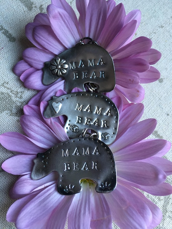 Hand-stamped Mama Bear, Mothers Day, Sterling Silver Handcrafted Zuni Bear Necklaces
