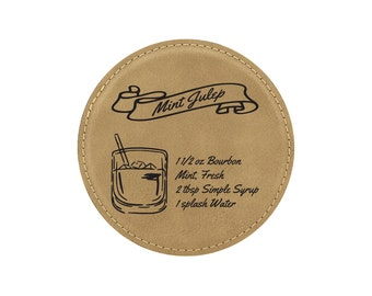 Mint Julep  Drink Coasters - Old Fashioned Mixed Drink Recipies - Choice of Coaster Color and Shape - 089