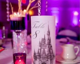 Cinderella Wedding Decor, Cinderella Wedding Luminaries, Fairytale Table Numbers, Fairytale Luminaries, Fairytale wedding decor- Set of 20