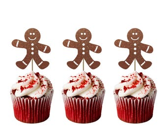 Gingerbread Man Christmas Cupcake Toppers - Pack of 8 - Glittery Brown