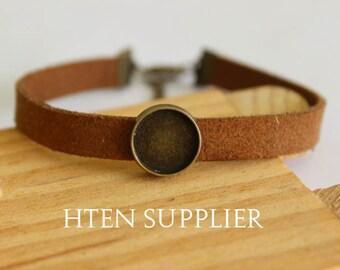 10pcs Adjustable Bangle Bracelet With 10mm 12mm 14mm 16mm Pad cuff bracelet blank, bracelet settings brown