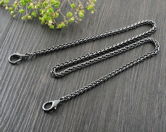 5mm Gun-metal Purse Chain, Purse Replacement Chains, Chain Strap Purse with Clasps, Finished Chain Straps High Quality, Twisted Chain, 114