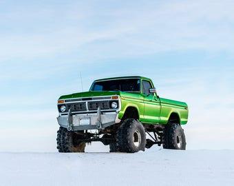 Green Monster Truck Snow Landscape Car Art Print Wall Decor Image - Unframed Poster