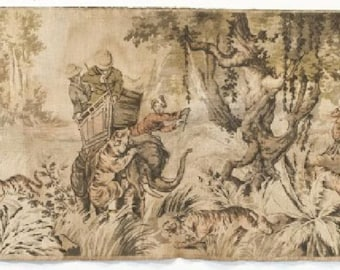Antique French Hunt Tapestry Vintage Dutch/Belgian/Flemish Wall Tapestry  1900 French Safari Tapestry India Colonial Tiger Tapestry