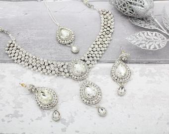 Silver Indian Bollywood Diamante Necklace Set with Earrings, Tikka Headpiece  Bridal Wedding
