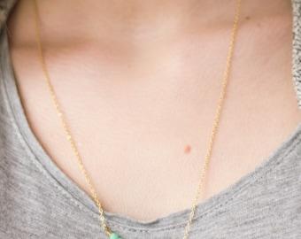 Tiny mint necklace, minimalist necklace, bead bar necklace, layering necklace, dainty necklace, cute minimalist jewelry, pastel necklace