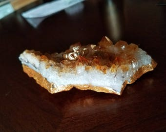 Beautiful - Antique Gold Leafed Citrine - Ring Dish - Holder - Unique