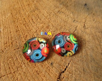 Set of 2 cabochon Rainbow spiral pattern