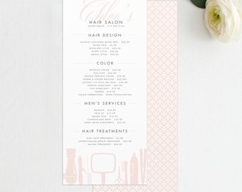 Grace Hairstylist or Barber Services Menu / Salon Price List - Template, INSTANT DOWNLOAD - Salon Price Menu, Salon Menu, Hair Stylist Menu