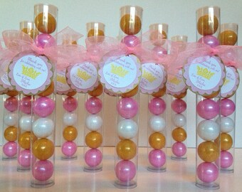 ONEderful 1st Birthday  Princess Crown, Gumball Tube Party Favors, Set of 12, Gold, Shimmer Pink and White with Personalization