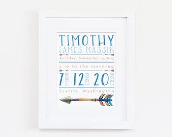 Birth Announcement Nursery Wall Art, Personalized Nursery Art Print, Customized Printable, Baby Name Sign, Baby Girl Nursery, Baby Boy Art