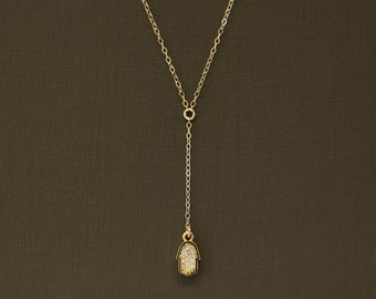 Delicate Rosary Y Necklace with Pave Hamsa Charm