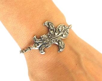 Fleurdelis Bracelet Sterling Silver Or Antiqued Brass Finish Fleur de lis