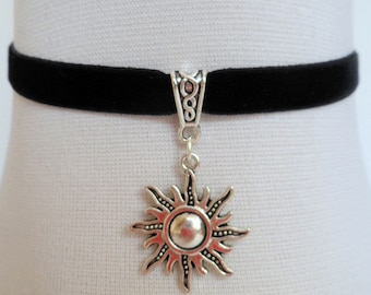 wicca sun choker, black velvet choker, sun necklace, pagan necklace, stretch ribbon