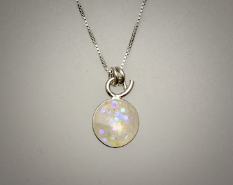 Sterling silver and white resin necklace