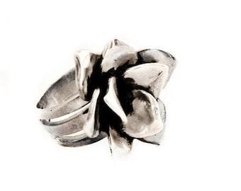 Flower ring, Silver flower ring, Sterling silver ring, Flower jewelry, Silver rose ring, Floral ring, Rose ring, Flower rings, Promise ring
