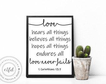 Love never fails 1 Corinthians 13:7 | Typography 8x10 Digital Print