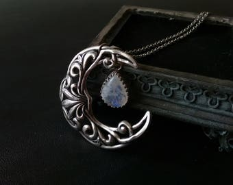 Wiccan Jewelry Witchy Jewelry Large Moonstone Pendant Necklace Silver Crescent moon Necklace wiccan clothing Celestial Fantasy Necklace