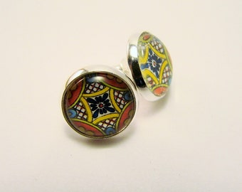 MEXICAN TALAVERA TILE Petite Silver Stud Earrings --  Petite silver earrings in sunshine shades, Mexican art tile earrings