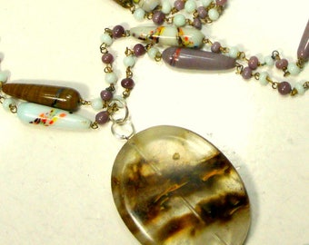 Lavender and White Japan Art Glass Bead Chain Necklace with Rutilated Quartz Stone Pendant Focal, OOAK Rachelle Starr, 1990s