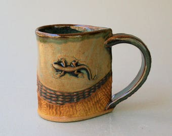 Salamander Mug Pottery Coffee Cup Handmade Stoneware Tableware Functional Microwave and Dishwasher Safe