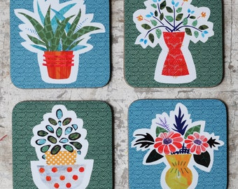 Coaster Set/ Houseplant & Floral Drinks Coasters/ Square Coasters