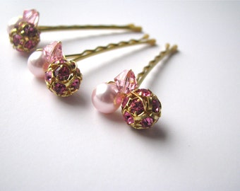 Pink and Gold Hair Pins, Swarovski Crystal and Pearl Clusters, Wedding Bobby Pins