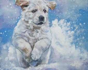 Golden Retriever dog art CANVAS print of LA Shepard painting 8x8