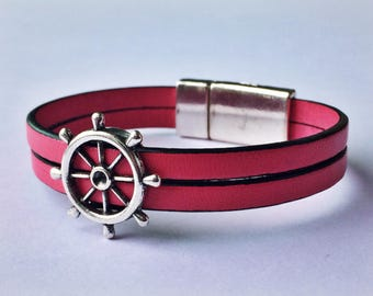 Light Pink 2-Strand Nautical Leather Bracelet with Silver Magnetic Clasp