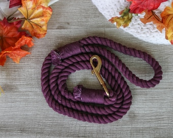 Plum Aubergine Purple Rope Leash for dogs