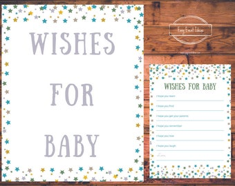 Printable Little Star Baby Shower Wishes for Baby Sign and Game Instant Download