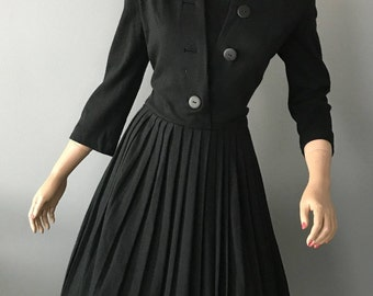 """Vintage black wool """"Henry Lee"""" fit and flare day dress-Small-Med"""