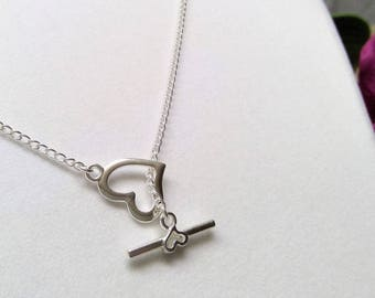"Silver-plated ""Y"" heart necklace"