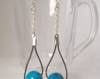 Blue x Leather Earrings with Sterling Silver, Bright Blue, Simple Dangle Earrings, Modern Jewelry, Gifts for Women