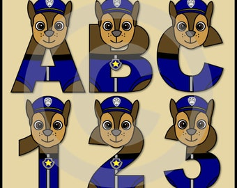 Chase   Paw Patrol   Alphabet Letters U0026 Numbers Clip Art Graphics