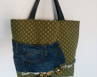 Fabric for upholstery and recycled denim tote bag